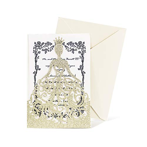 KAZIPA 25PCS Lacer Cut Wedding Invitations Card, Hollow Bride Invitations Cards for Sweet 16 Quinceñera Invitation Wedding Bridal Invitations Cards (Gold Glitter)