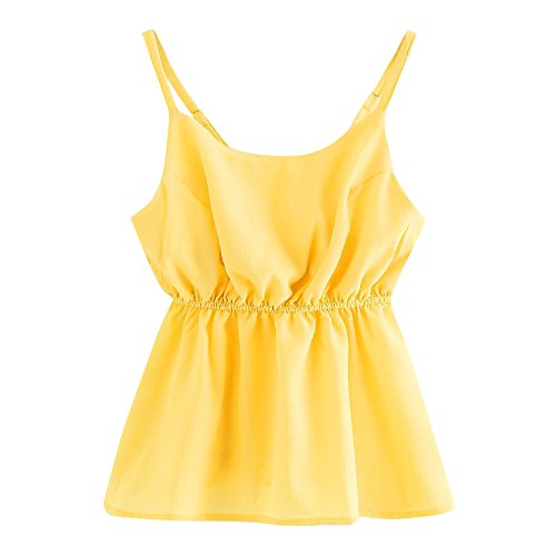 Women's Casual O Neck Bow Back Crop Cami Tops Camisole Shirt Vest Blouse
