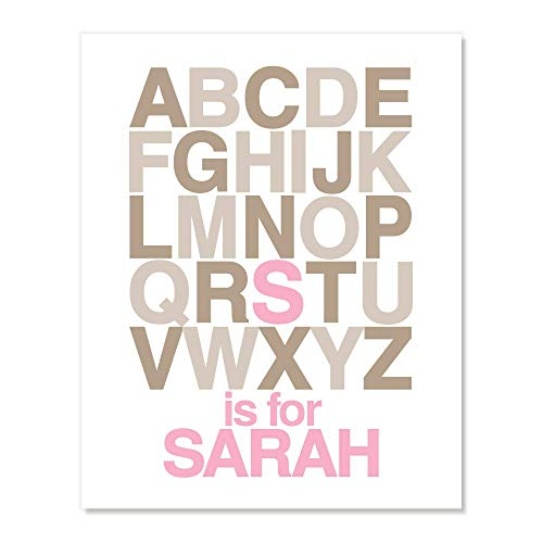 Personalized Alphabet ABC Name Wall Art for Toddler Kids Room Baby Boys Girls Nursery (Pink Brown, Many Sizes)
