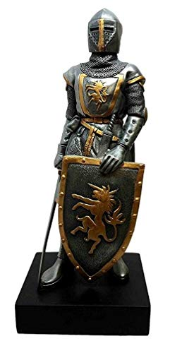 - YK Medieval Decorative Standing French Swordsman Knight Guardian Figurine Statue