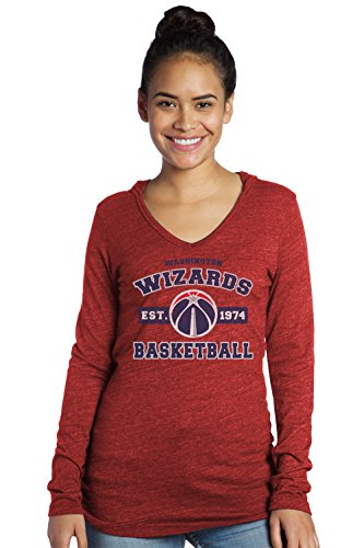 Majestic Athletic NBA Washington Wizards Women's Premium Triblend L/S V-Hoodie, Large, Red