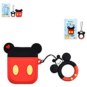 Airpods Case, Kids Girls Lovely Cute Mickey 3D Cartoon Kawaii Airpods Cover, Soft Silicone Protective Shockproof Fashion Charging Skin Matching with Disney Ring Strap Holder for Apple Airpods 2/1