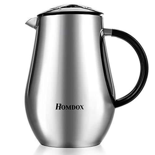 Homdox French Press, Coffee Tea Espresso Maker Heat Resistant Glass with Stainless Steel Filter, 8 Cup/4 Mug (1 liter, 34 ounce) (Stainless Steel Coffee Maker) by Homdox