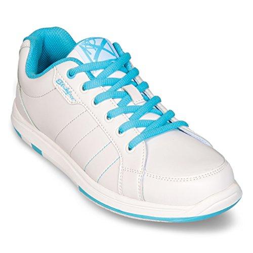 KR Strikeforce L-041-070 Satin Bowling Shoes, White/Aqua, Size 7