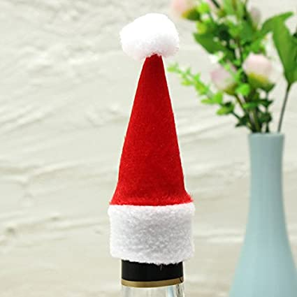 Calli Mini botella de vino casquillo 10pcs navidad botella decorada de Navidad sombreros