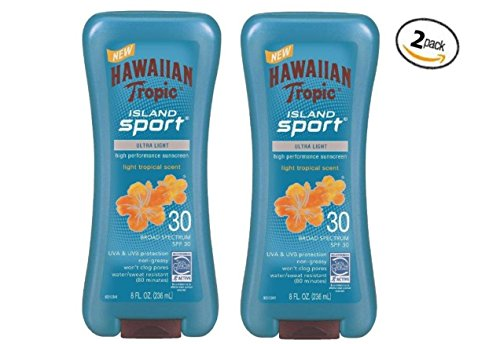 Hawaiian Tropic Island Sport Ultra Light High Performance Suncreen Lotion, Light Tropical Scent SPF 30 8 oz (Pack of 2) by Hawaiian Tropic