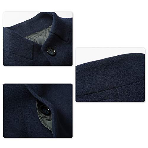 D'hiver 2 Veste Élégant Chaud Homme Manteau Noir Blazer Longue Trench Outwear Manche Long Laine Coat Mode p4Zqwx5w