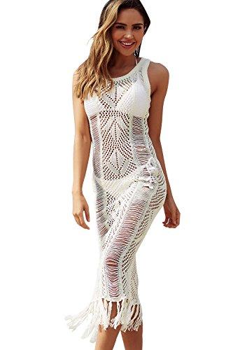 (NFASHIONSO Womens Crochet Tassel Beach Wear Cover up Swimwear Bikini Long Maxi Beach Dress White)