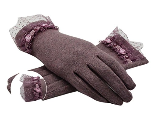 126 Cashmere (Greenery Fashion New Soft Warm Cashmere Wool Gloves Winter Hand Warmer Mitten With Lace Decoration for Women/Ladies/Girls, Great Birthday/Christmas Gift (Light Purple)
