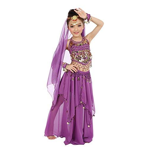 Kid's Belly Dance Costume Girls Halloween Vest Dress Head Decoration Bracelet (S:Girl Height:47