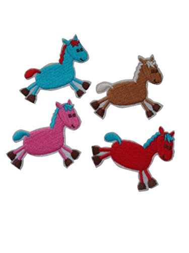 (Children Patches 4 small pieces HORSE Iron On Patch Applique Pony Donkey Mule Ass Animal Motif Fabric Decal 2 x 1.8 inches (5 x 4.5 cm) )