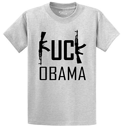 Obama Ash Grey T-shirt - Men's Heavyweight Tee Fuck Obama Funny Political Anti Obama Pro Gun Rights Shirt Ash Grey 2XL
