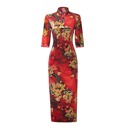 Chinese Style Shang Hai Story Long Sleeves are Retro Elegant Classic Printing Flowers Dress Cheongsam (XXXX-Large,Red)