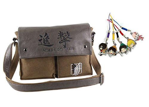 createreedo-anime-attack-on-titan-canvas-messenger-bag-with-5-pieces-phone-charms