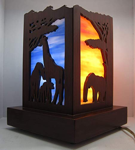 Sided Stained Glass - 4 sided stained glass table lamp, Exquisite fully hand cut Red Oak Lamp by artist JJ Starr