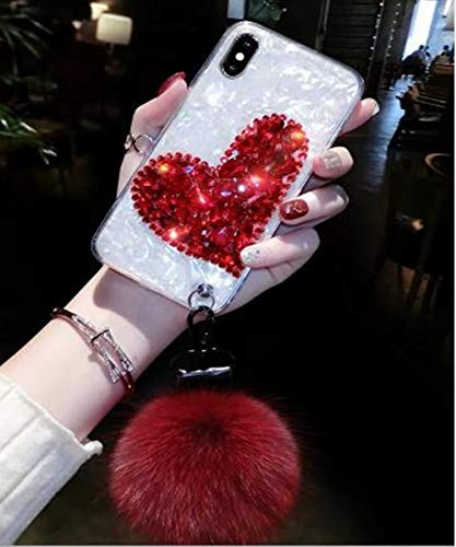 iPhone 8 Bling Fur Ball Case,Aulzaju iPhone 7 Luxury Shiny Shockproof Shell Design Case Love Heart Soft TPU Strip Cover for iPhone 8/7 for Girls Women-White