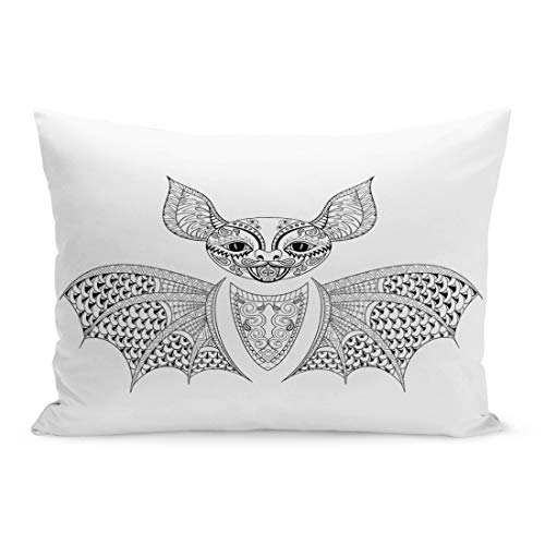 Semtomn Throw Pillow Covers Zentangle Bat Totem for Adult Anti Stress Coloring Page Therapy Tribal in Doodle Monochrome Sketch High Pillow Case Lumbar Pillowcase for Couch Sofa 20 x 26 inchs]()
