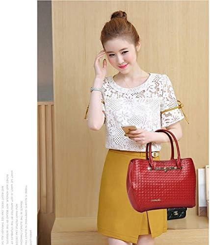Shoulder Bags Handtasche 3 in 1 beiläufigen PU-Schulter-Beutel-Webart-Muster-Damen-Handtasche Messenger Bag (Farbe : Gold)
