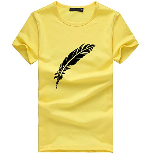 Women T-Shirt Casual Summer Short Sleeve Tee Letter Print Loose Blouse Tops (S, Yellow 3)