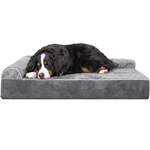 (Furhaven Pet Dog Bed | Deluxe Orthopedic Faux Fur & Suede L Shaped Corner Chaise Lounge Sofa-Style Living Room Couch Pet Bed for Dogs & Cats)