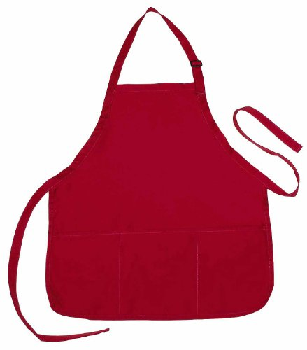 Apron Commercial Restaurant Home Bib Spun Poly Cotton Kitchen Aprons (3 Pockets) in Red 2 Pack - Red 3 Pocket Bib Apron