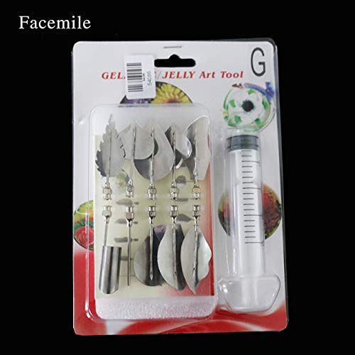 Facemile 11pcs/set 3D Jelly Flower Art Tools Jelly Cake Gelatin Pudding Nozzle Syringe Russia Nozzle Set Cake Decorating Tools (G)