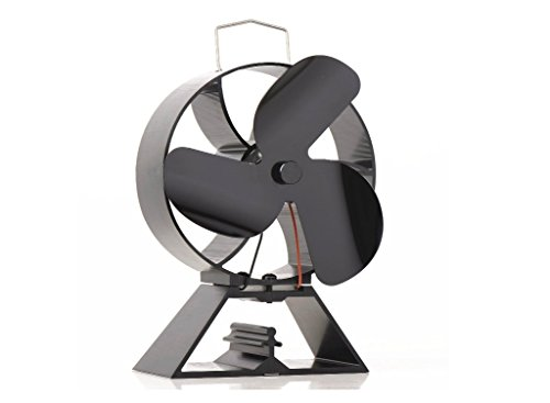 VDSA 3-Blade Round Back Heat Powered Stove Fan for Wood/Log Burner- Eco Friendly Fireplace Fan (Black) by VDSA