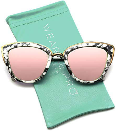 Womens Cat Eye Mirrored Reflective Lenses Oversized Cateyes Sunglasses (Marble White Frame/Mirror Pink Lens, ()