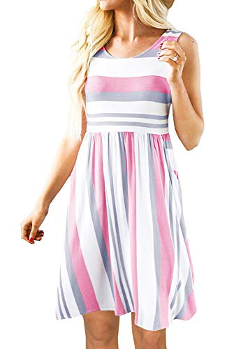 PAPOSON Women Striped Midi Dresses with Pockets Summer Sleeveless Swing Casual T-Shirt Dress (Pink-L)