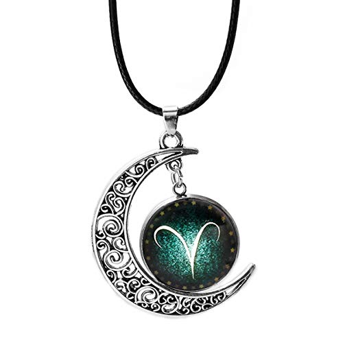 Batill Cosmic Moon Pendant Necklace, Constellation Aries Green Glass, Crescent Moon Pendant Necklaces for Women Girls Gifts Jwelry Pendants ()