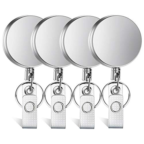 Selizo 4 Pieces Retractable Badge Holder Heavy Duty Badge Reels ID Holder with Keychain Ring Clip for ID Card Carabiner Key Card Work - Badge Clip Stainless Steel