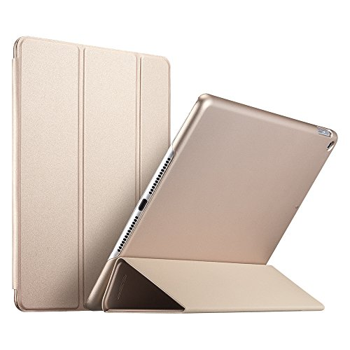 ESR iPad 2017 iPad 9.7 Case, [Rubber Cover] Slim Fit Leather Smart Case with Rubberized Back Cover and Auto Wake & Sleep Function for Apple iPad 9.7 2017 Release (Champagne Gold)