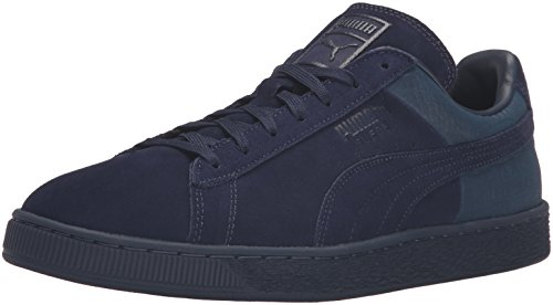 Mens Suede Classic Casual Emboss Fashion Sneaker, Peacoat, 6 M US