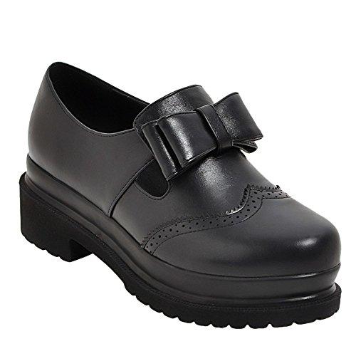 Latasa Dames Boog Dikke Slip Op Schoenen Zwart