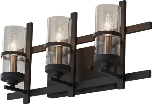 - Feiss VS20003-AF/BS Ethan Glass Wall Vanity Bath Candle, 3-Light, Antique Forged Iron (5