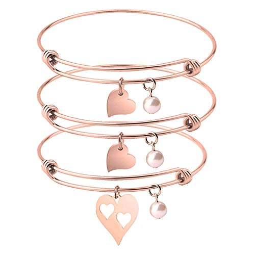 - BNQL Rose Gold Mother Daughter Heart Cutout Bracelet Set with Pearl (Cutout 2 Heart Bracelets)