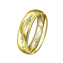 Haoze Jewelry Men's Lord of the Rings Titanium Gold Plated 18k Love Engagement Wedding Bands