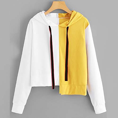 Cappuccio Elegante Top Pullover Tops Donne Camicia Patchwork Felpa Con Lunga Tumblr Vicgrey Giallo A casual Manica Camicetta wz8qv7