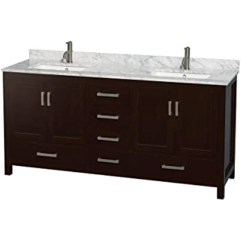 Wyndham collection sheffield 72 inch double bathroom vanity in espresso white carrera marble for Sheffield 72 double bathroom vanity