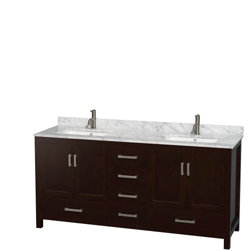 Wyndham Collection Sheffield 72 inch Double Bathroom Vanity in Espresso, White Carrera Marble Countertop, Undermount Square Sinks, and No (Double Sink Bathroom Countertop)