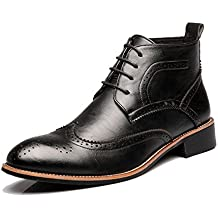 Hilotu Mens Brogue Shoes Lace Up Breathable Oxfords Wingtip High Top Boots for Gentlemen (Color