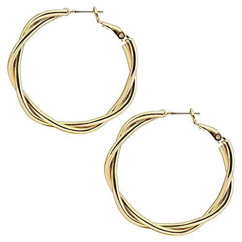 arrings Gold Hoops Earrings Big Circle Large Round Huggie Stylish Bohemia Statement Studs Ear Fashion Earrings for Women Girls(twisted gold hoop) ()
