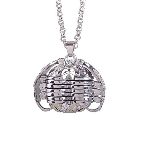 SMALLE ◕‿◕ Antique Silver Personalized Custom Photo Pendant Wings Necklace Locket 18mm Pictures Frame 5 Four ()