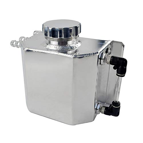 Soosee JDM Universal 1L Coolant Radiator Overflow Recovery Water Tank Reservoir Bottle Polished Aluminum Silver