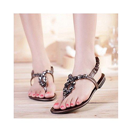 clip diamantes del pie sandalias de de Zapatos dedo Bronce las mujeres planas de imitación de XX7wqzO