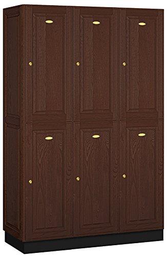 Salsbury Industries 2 Tier Solid Oak Executive Wood Locker With Three Wide  Storage Units,