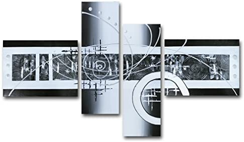 Muzagroo Art Oil Painting Black and White Abstract Art on Canvas Hand Painted Wall Decor for Dining Room M
