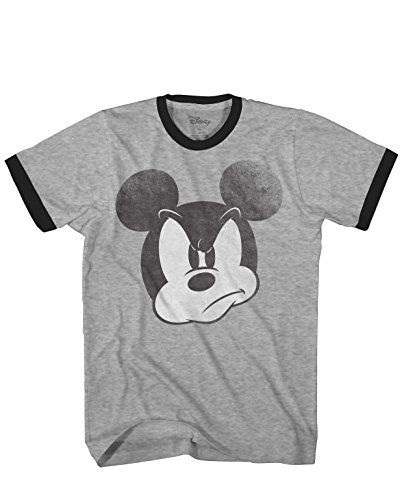 Mad Mickey Mouse Ringer Graphic Classic Vintage Disneyland World Men's Adult T-Shirt (Heather Grey, Large) -