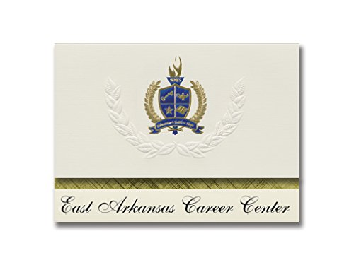 Signature Announcements East Arkansas Career Center (Forrect City, AR) Graduation Announcements, Presidential style, Elite package of 25 with Gold & Blue Metallic Foil seal -