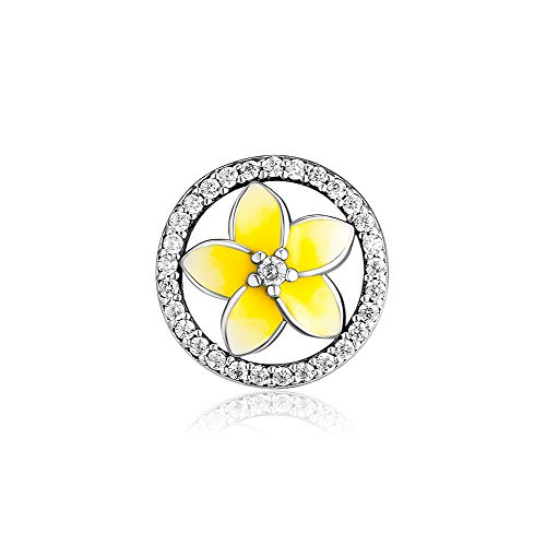 (Floral Charms Fit Pandora Bracelet- Authentic 925 Sterling Silver Colorful Enamel Flower Series Charm Beads Jewelry Making for Women Girls Gifts)